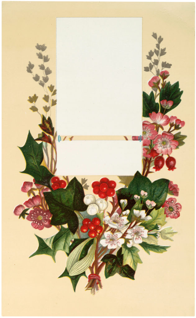 floral holly labels vintage image