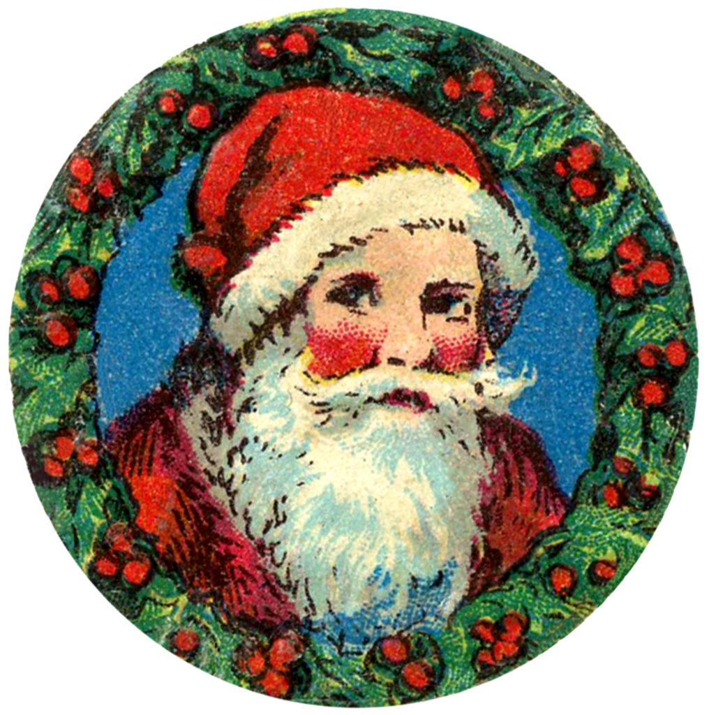 vintage santa framed wreath image