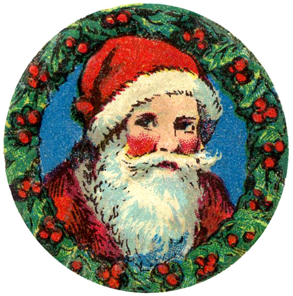 vintage santa framed wreath image