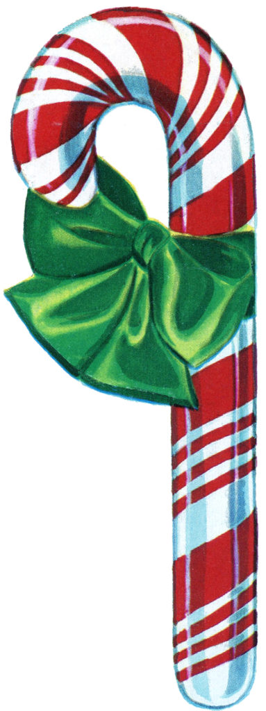 Retro Christmas Candy Cane Clipart