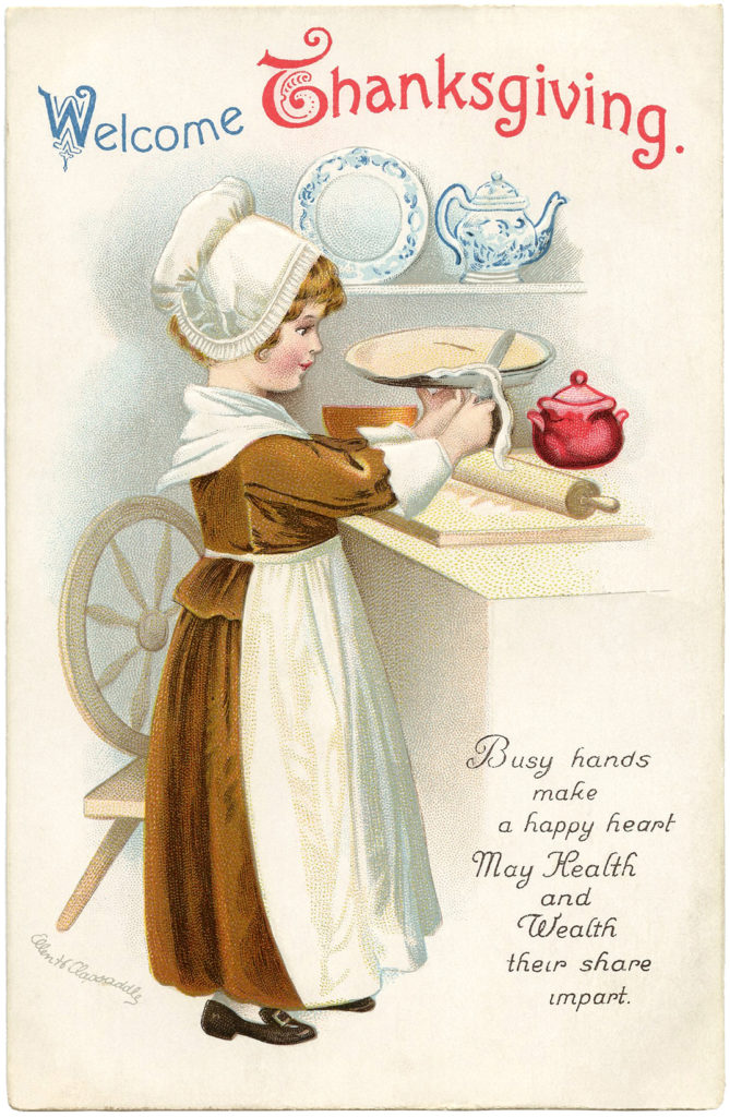 Vintage girl baking pie clipart