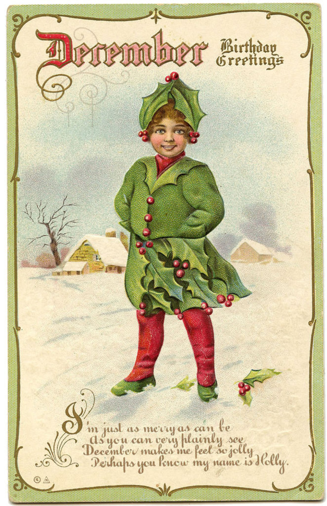 holly girl winter snow vintage image