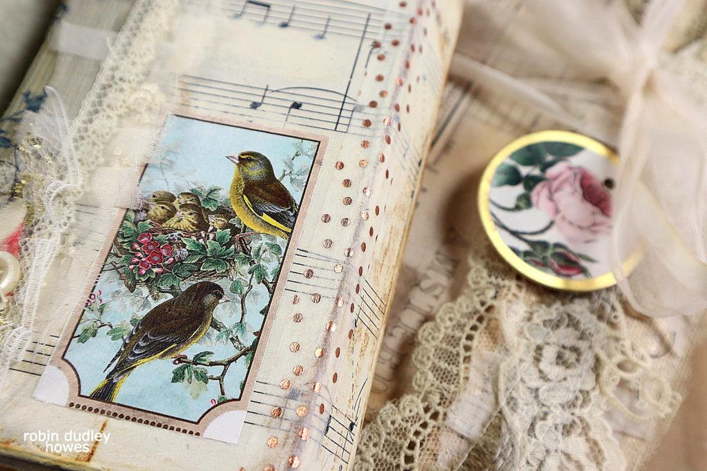 Christmas Vintage Birds Art Journal