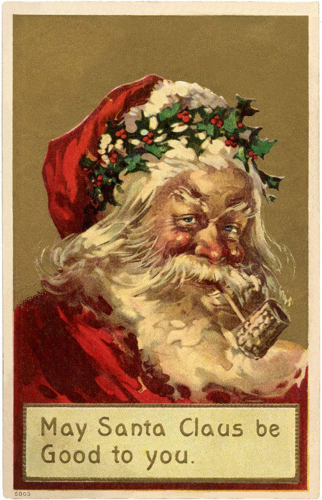 old world santa holly wreath image