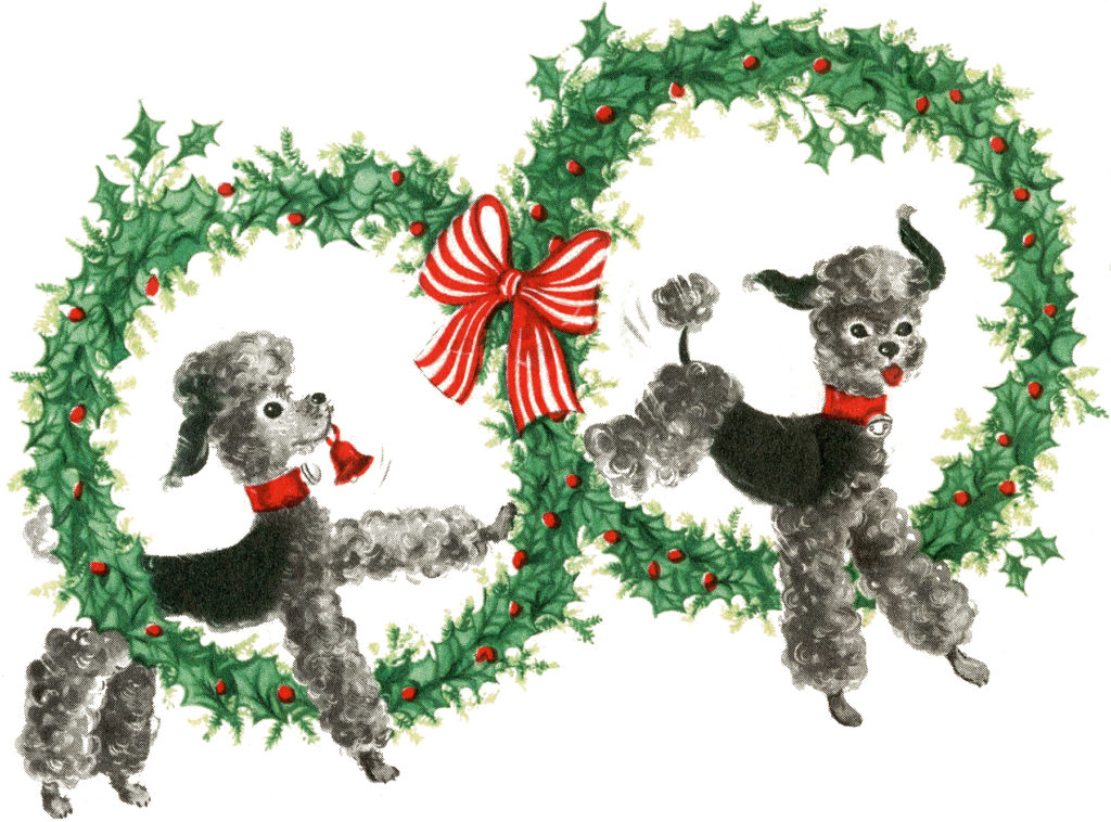 Vintage Christmas Dogs Wreaths Clipart