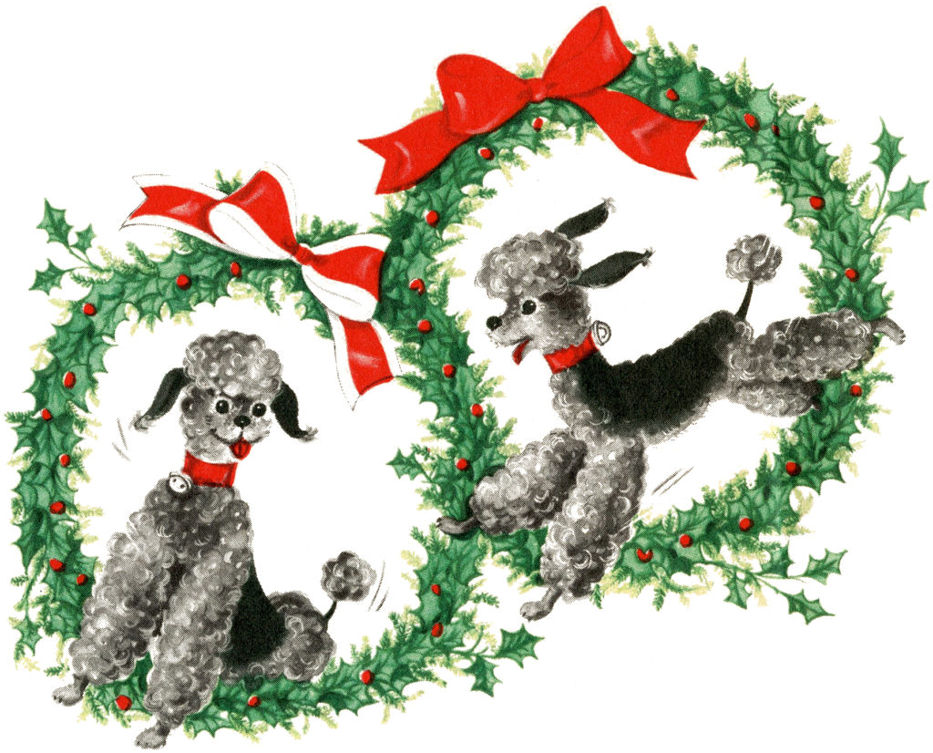 Retro Christmas Poodles Dogs Wreath Image