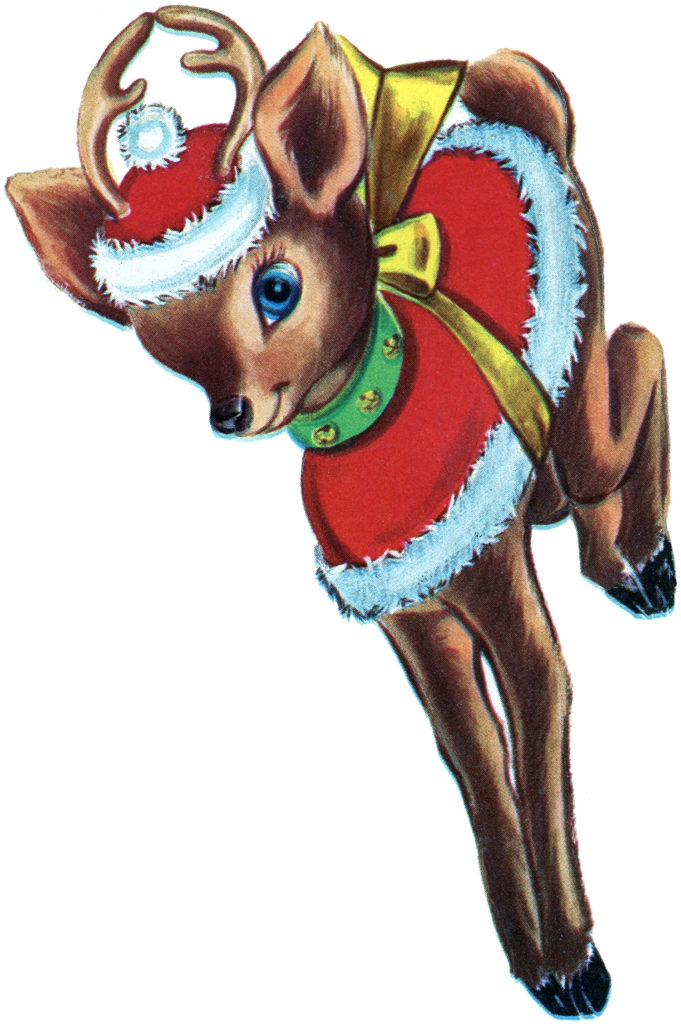 Retro Reindeer Cartoon Clipart