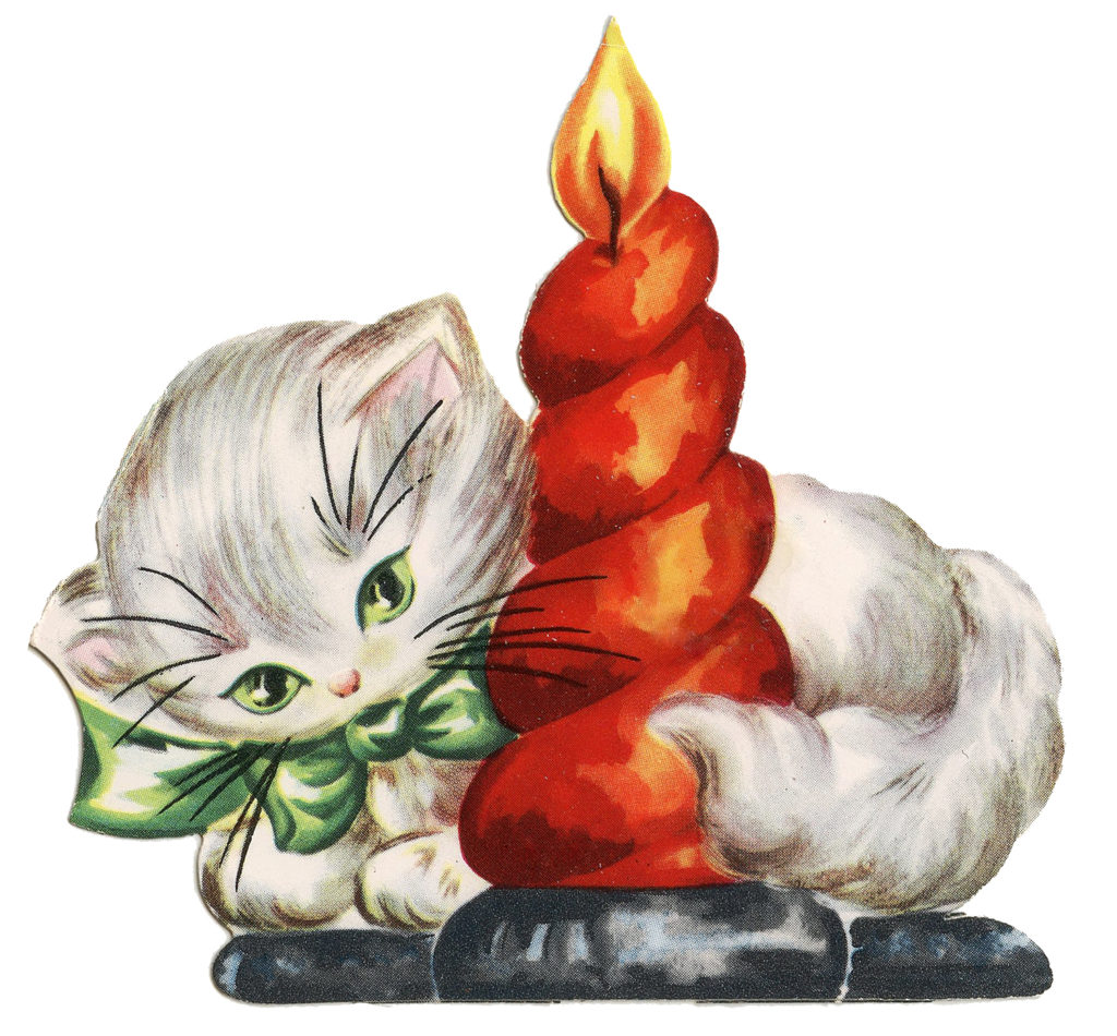 Retro Christmas Kitty Cat Candle Image