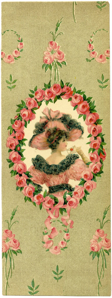 Vintage Pink Lady Hat Gown Wreath Frame Illustration