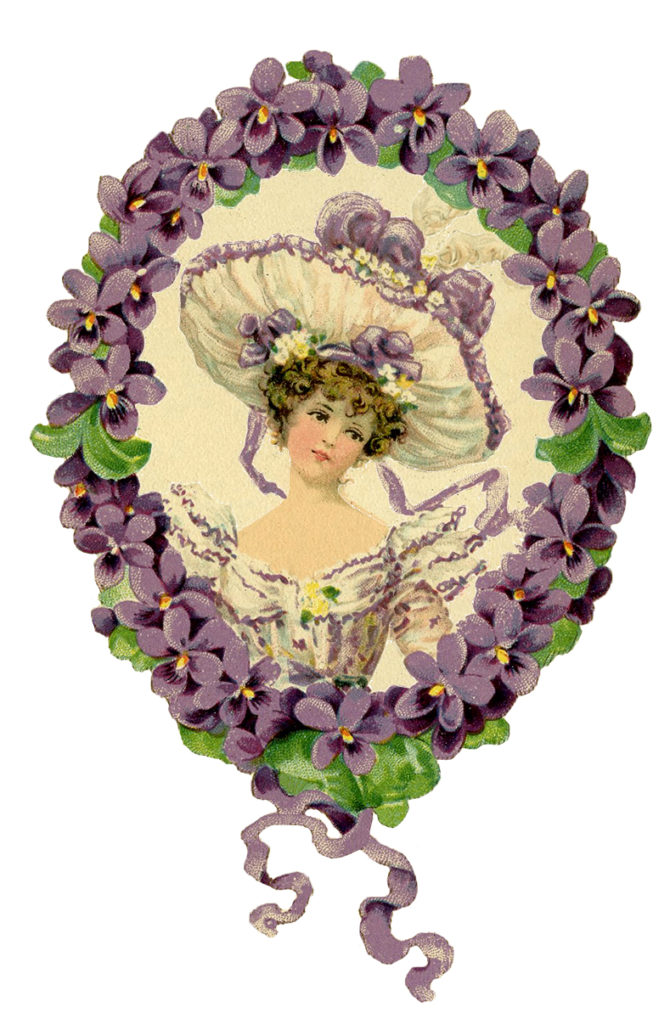 Purple Flowers Vintage Lady Illustration