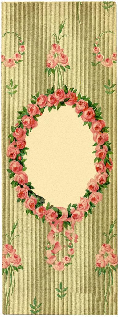 Vintage Card Oval Pink Floral Frame Image