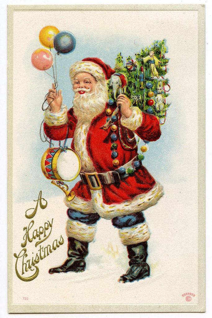santa balloons tree clipart