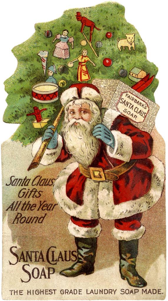 santa claus soap ad vintage image