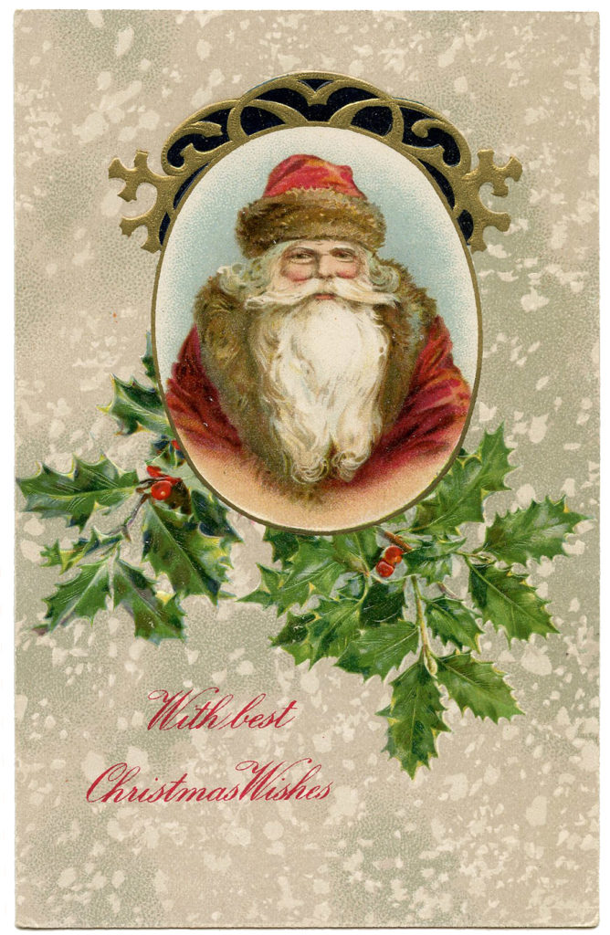 santa face holly frame vintage image