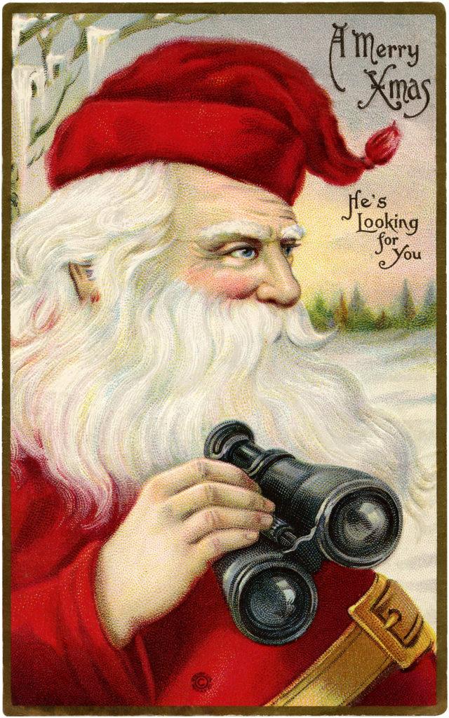 santa binoculars face clipart