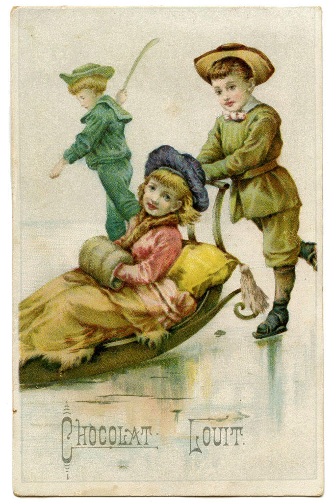 victorian children sled sledding ice image