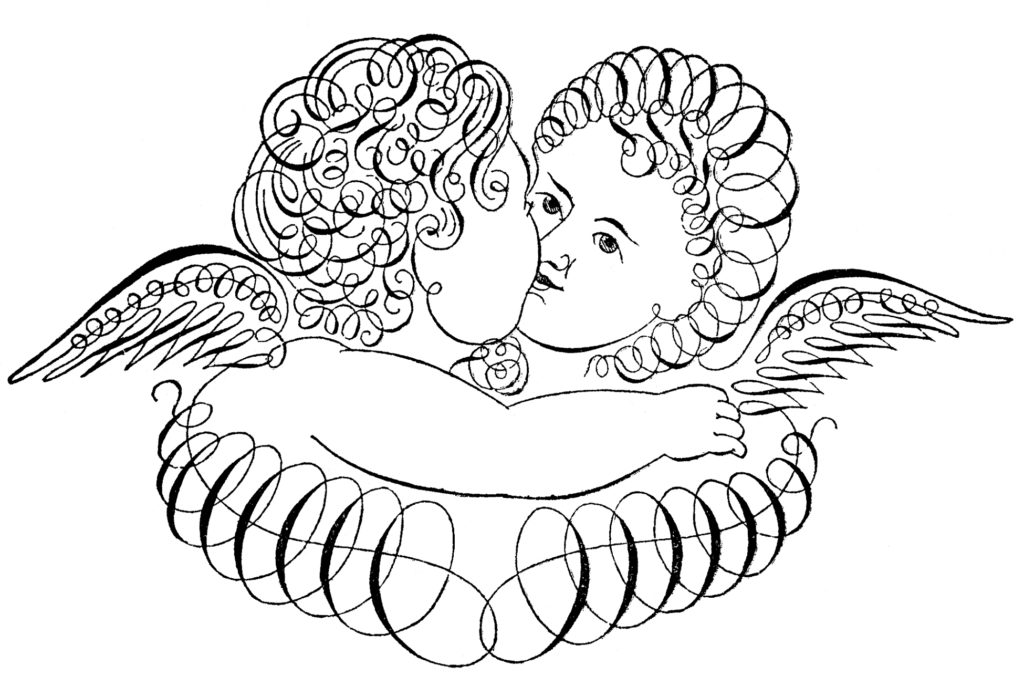 spencerian cherubs kiss illustration
