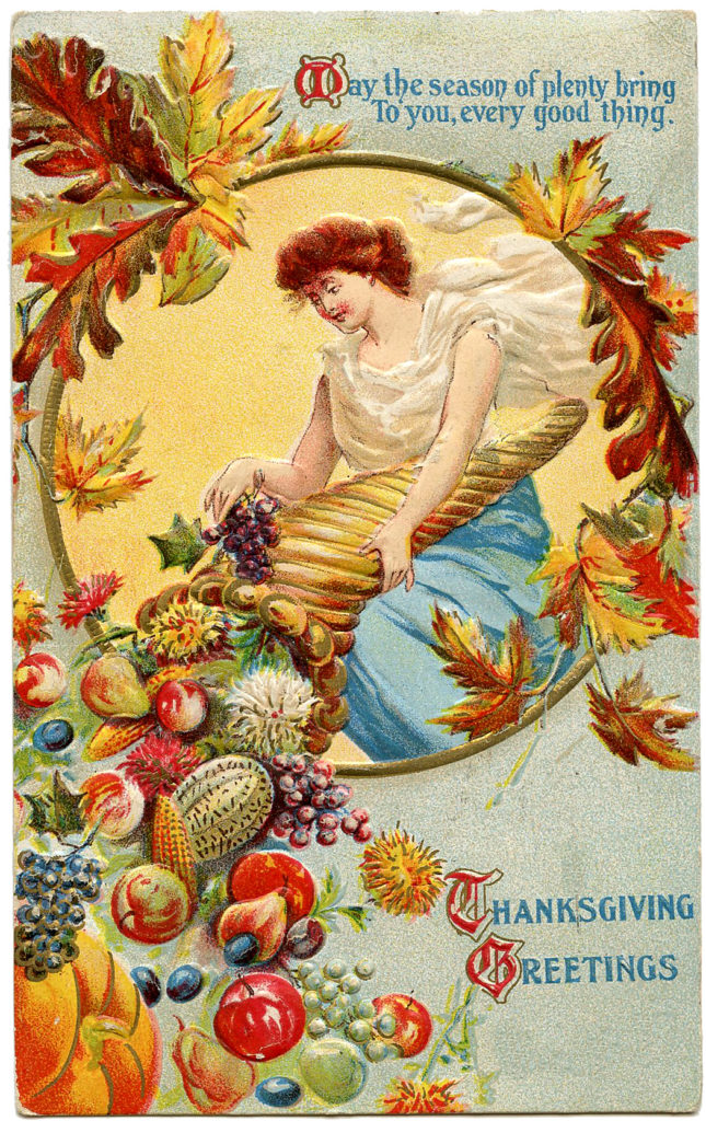 Thanksgiving cornucopia lady image