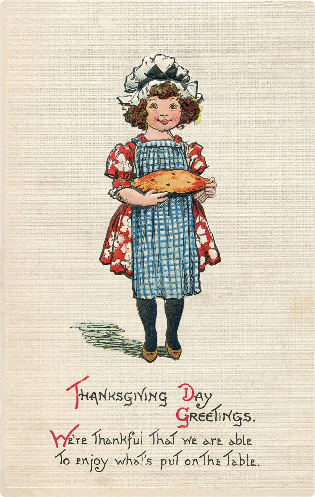 Vintage Girl Pie Thanksgiving Illustration