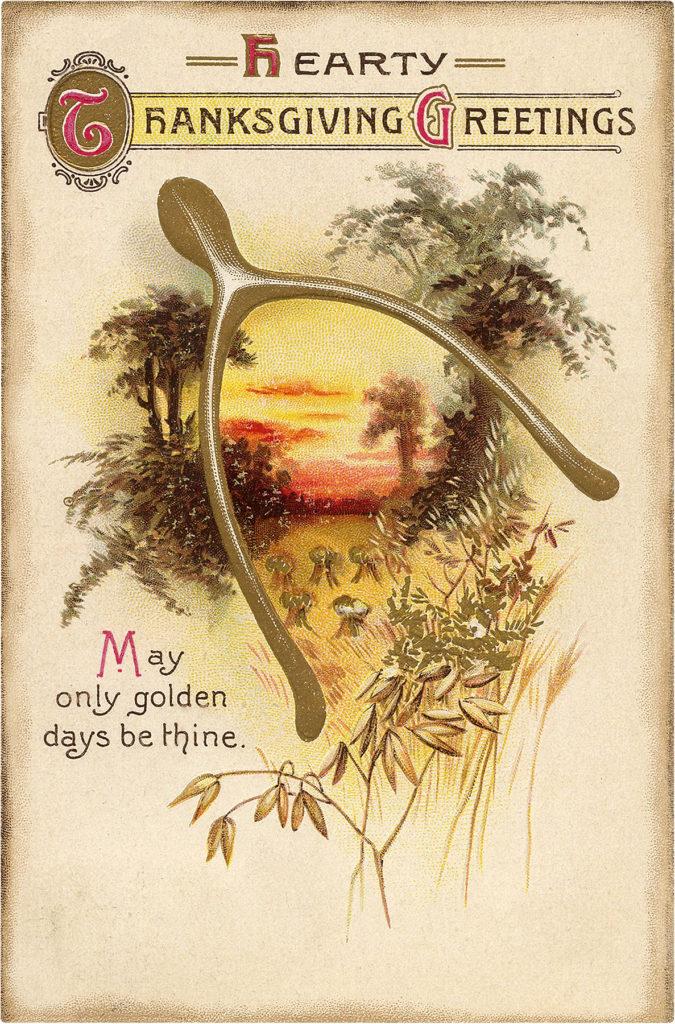 Thanksgiving greeting wishbone image