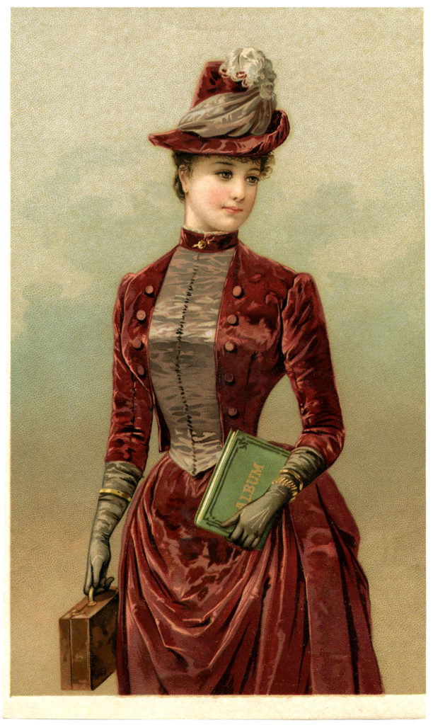 Victorian Lady Hat Gloves Dress Clipart