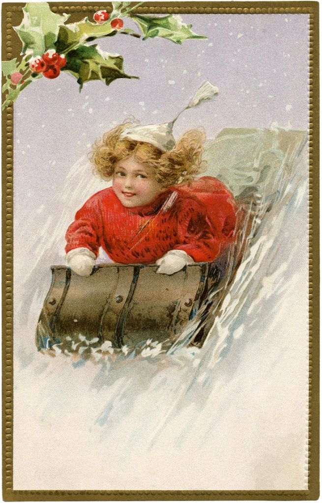 child sledding snow image