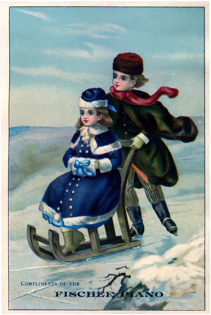 victorian children sledding image