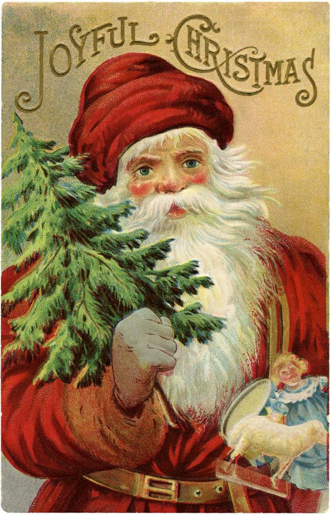 vintage santa christmas tree image