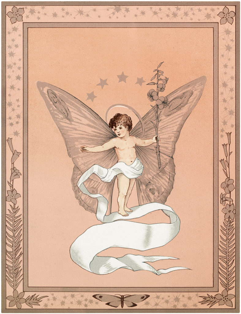 Vintage Fairy Baby Wings Banner Ribbon Image