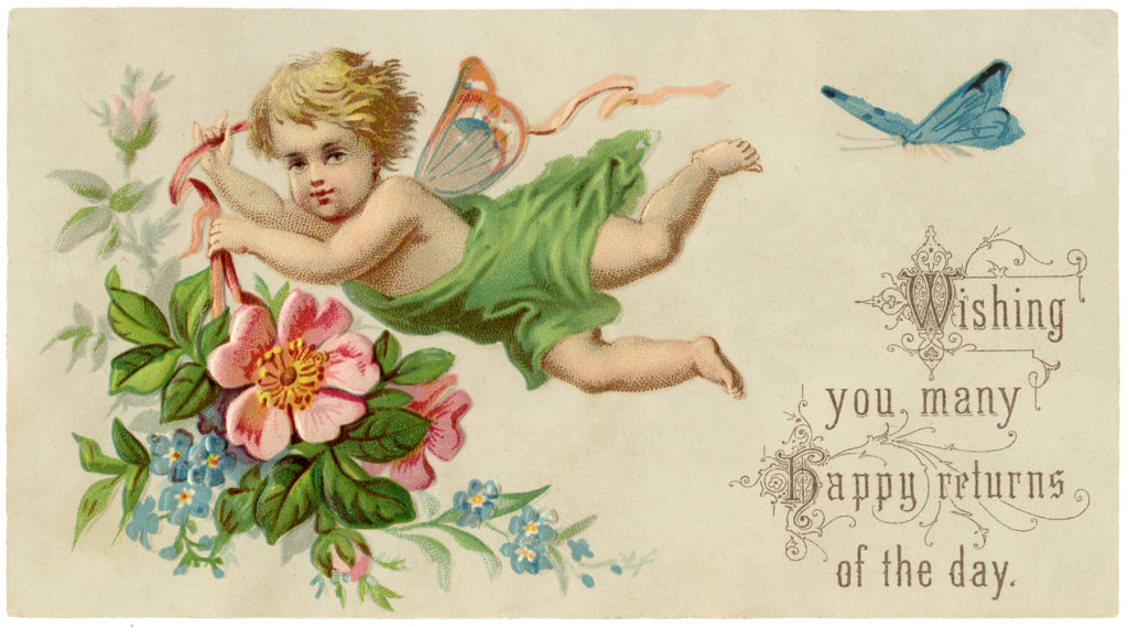 Vintage Fairy Flowers Bird Clipart