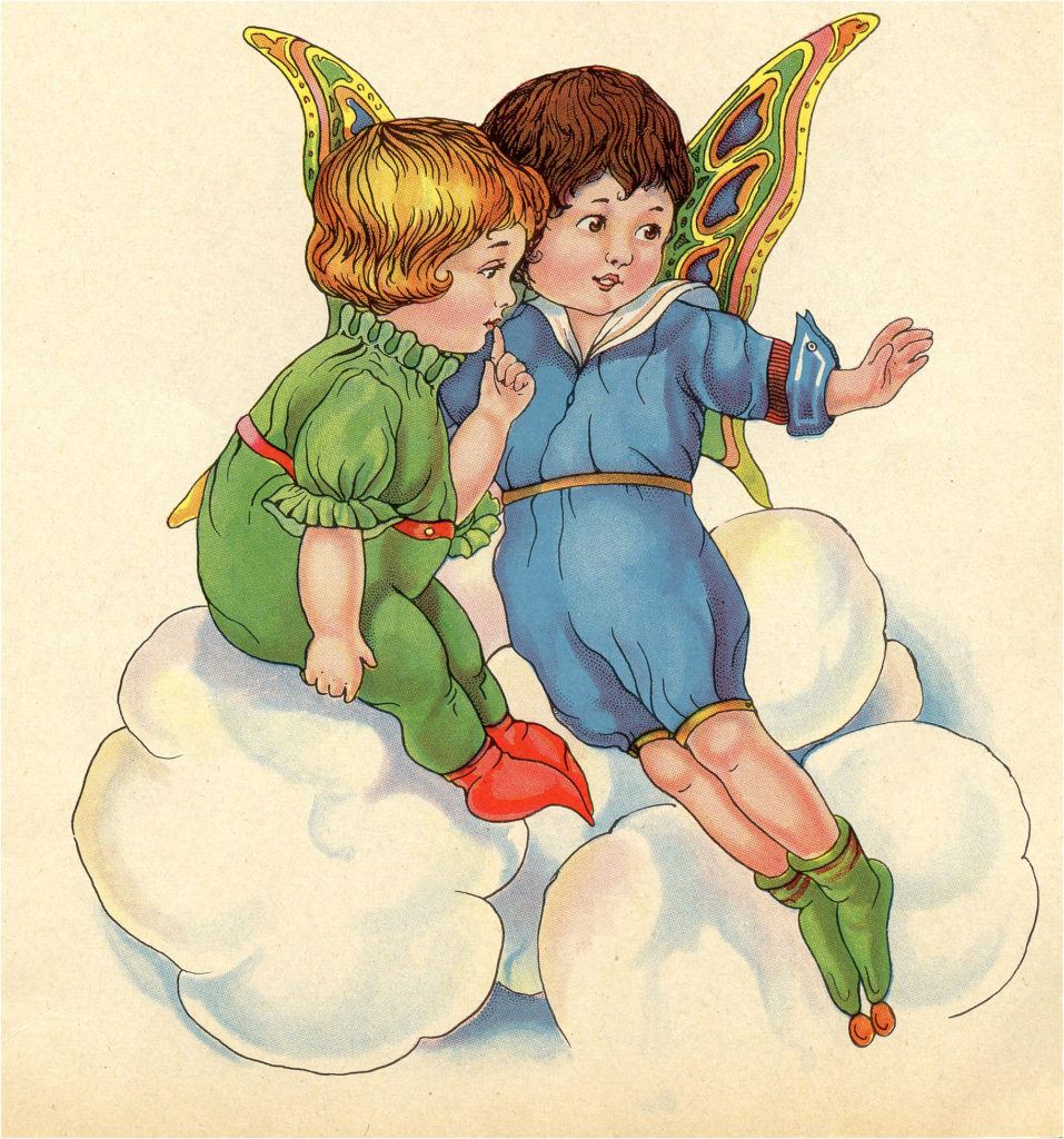 Vintage Fairies Clouds Flying Image
