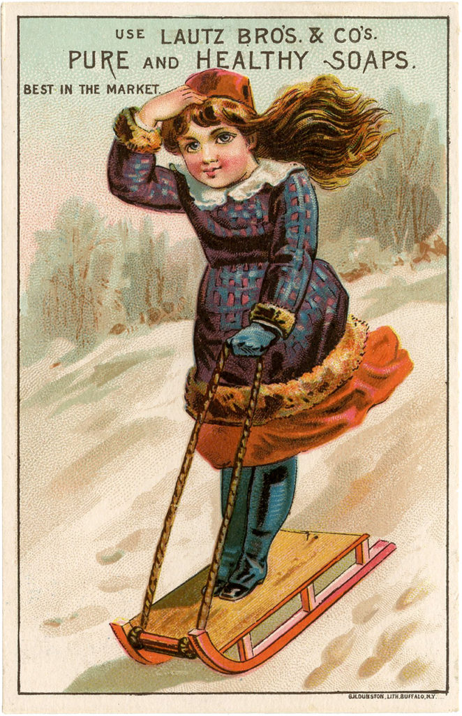 vintage girl sledding winter image