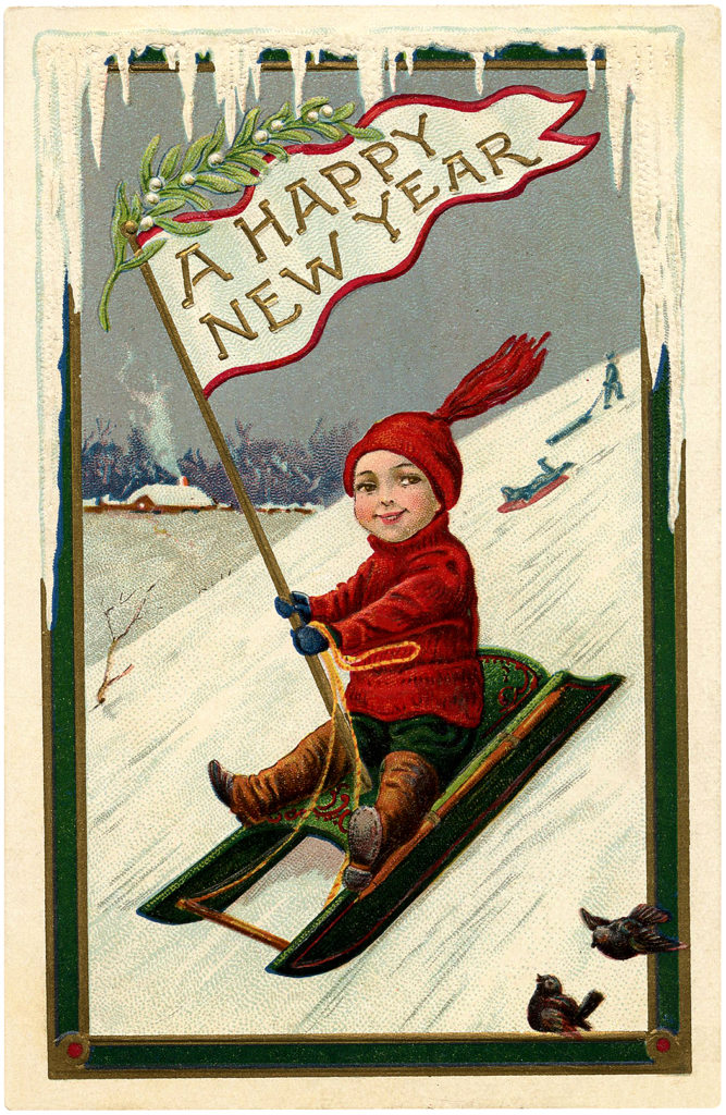 boy sled flag vintage new year clipart