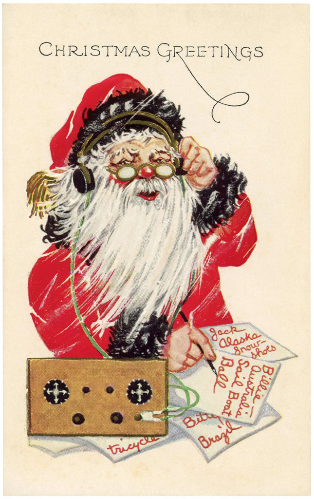 santa workshop list radio vintage clipart