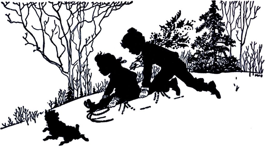 vintage silhouette sledding clip art