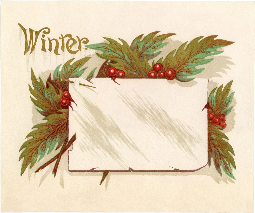 vintage winter holly label image