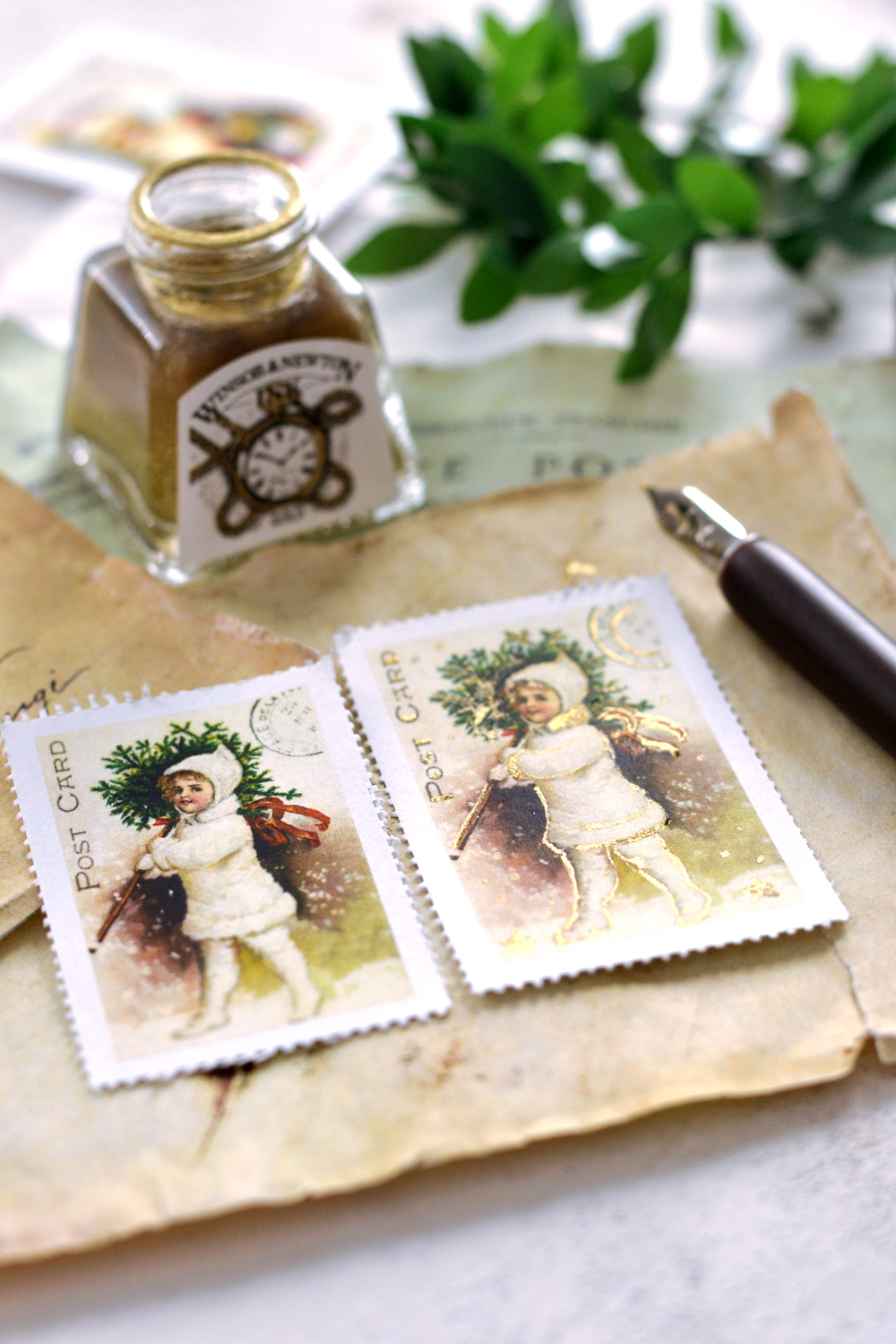 DIY Faux Vintage Christmas Postage Stamps