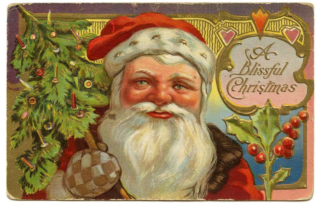 vintage santa tree image