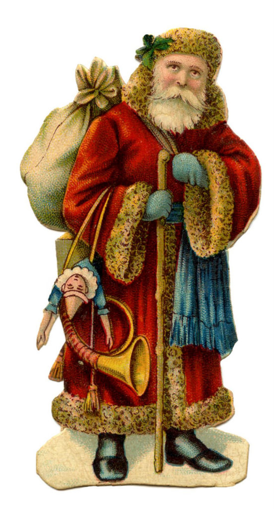 Christmas Vintage Santa Sack Toys Horn Image