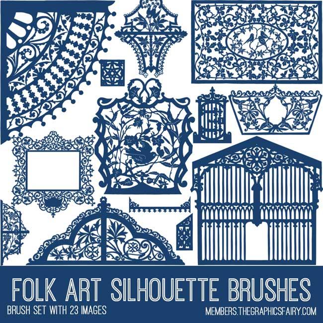 vintage folk art silhouettes brush set