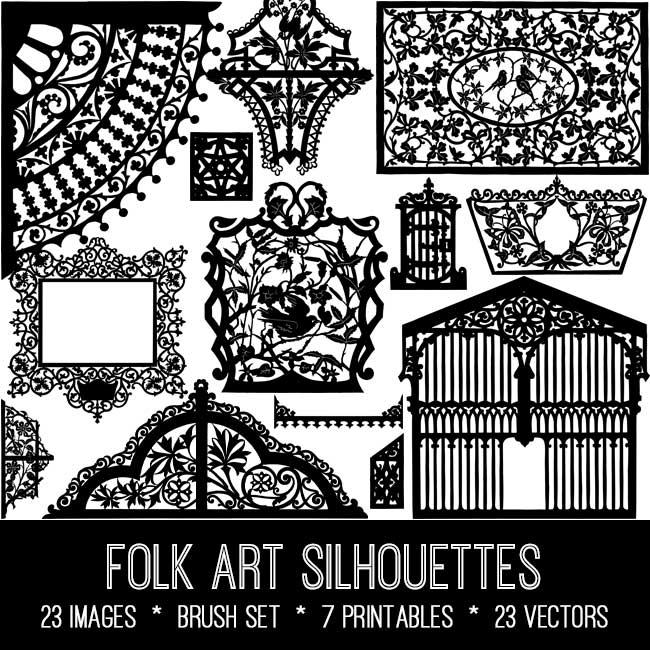 folk art silhouettes vintage images