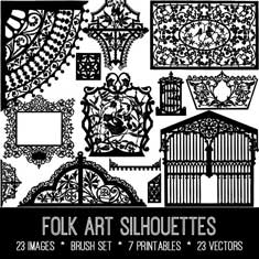 vintage folk art silhouettes bundle