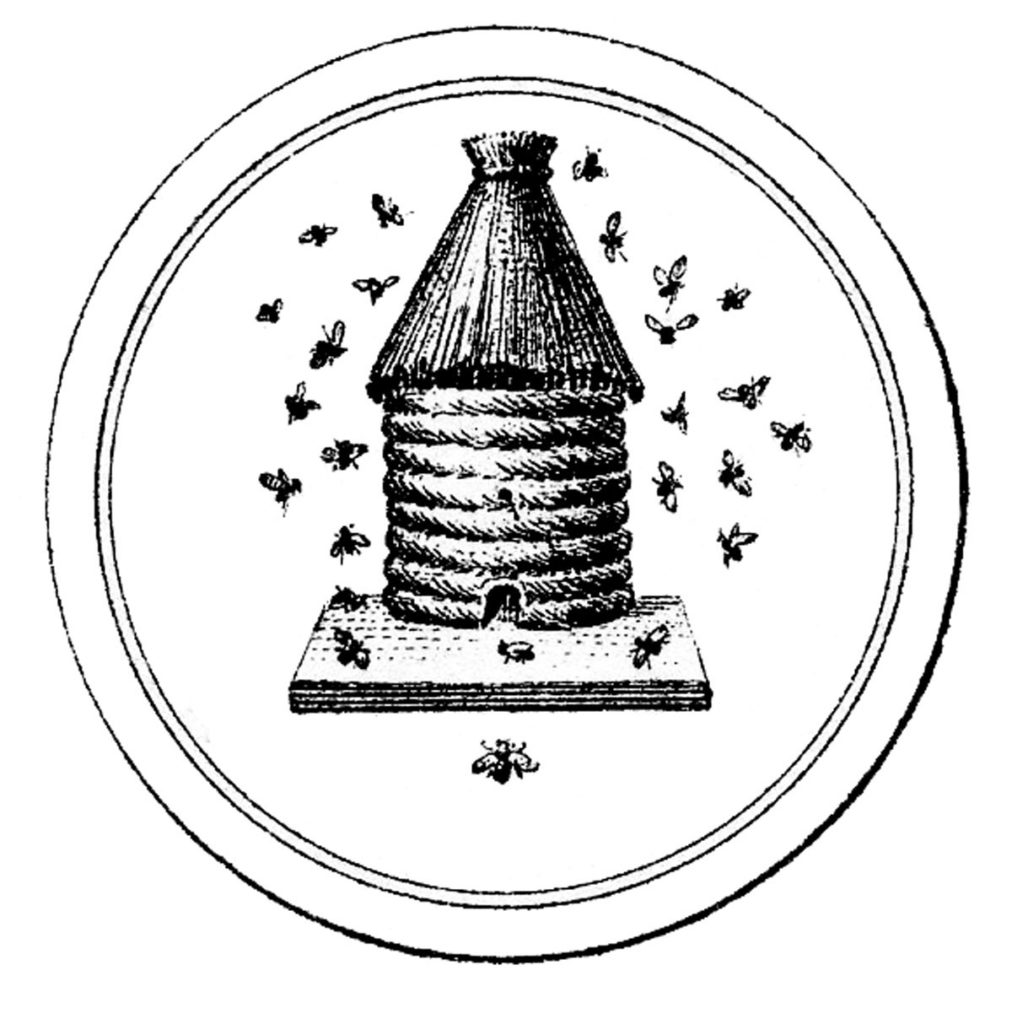 french beehive black white label image