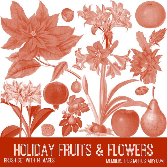 vintage holiday fruits & flowers ephemera brush set