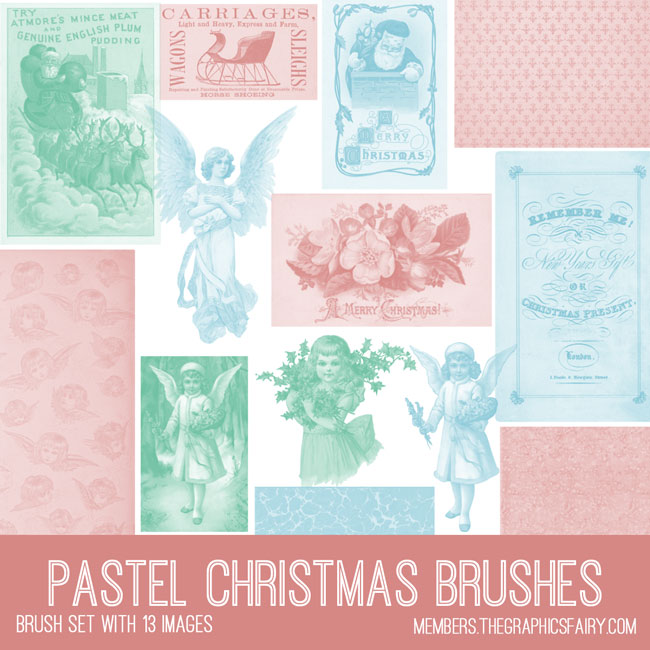 vintage pastel christmas ephemera brush set