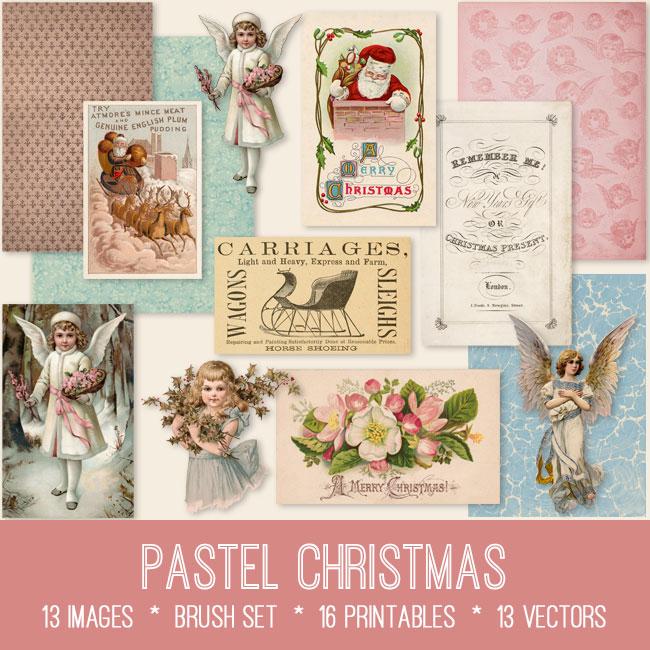 vintage pastel christmas ephemera bundle