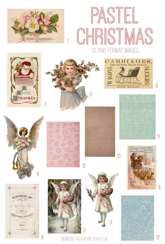 vintage pastel christmas ephemera digital image bundle