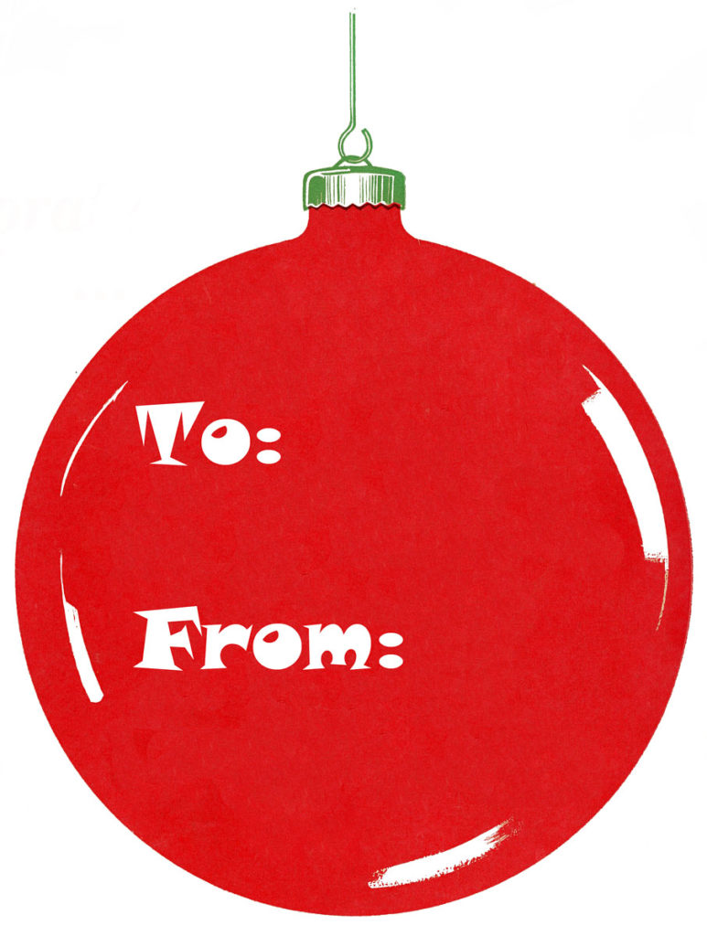Vintage Christmas Red Ornament Gift Tag Clipart