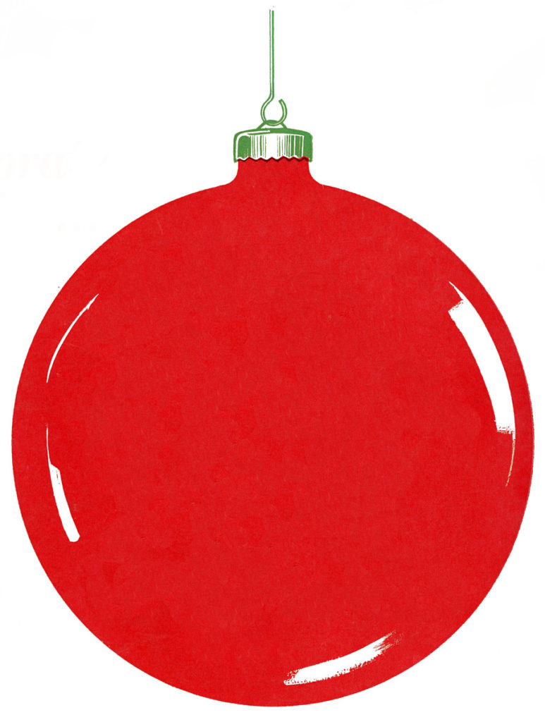 Retro Red Christmas Ornament Image