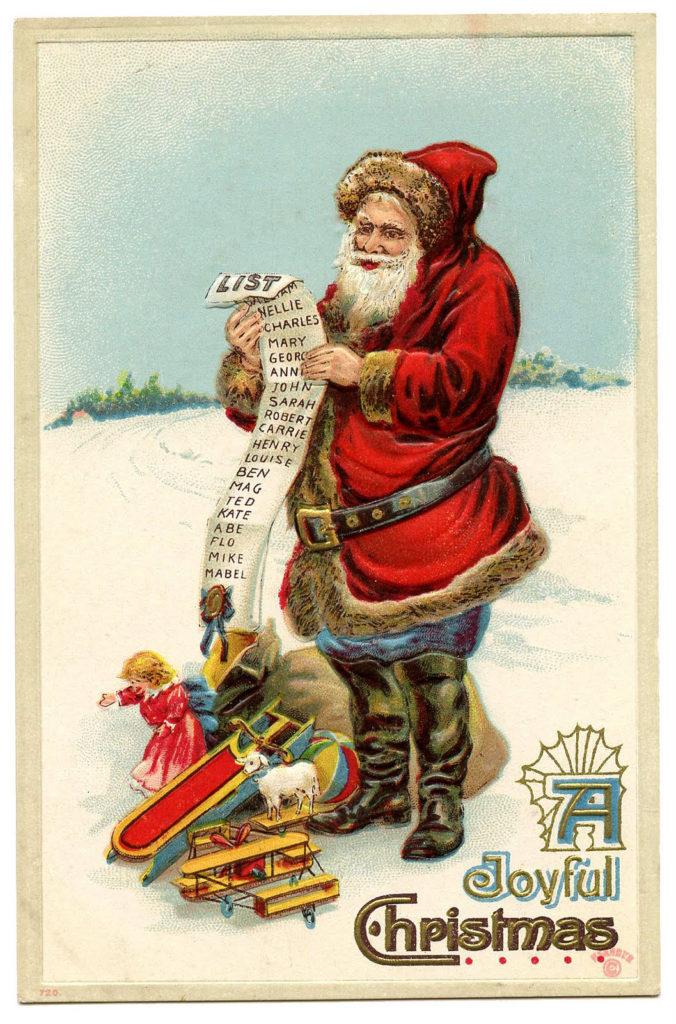 santa snow list sack clip art